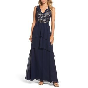 Eliza J Tiered Chiffon Gown with Lace Bodice